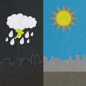 Concept saisonnière météo en maille style sur fond de tissu — Photo