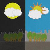 Pogoda sezonowa koncepcja w stylu ściegu na tkanina tło — Zdjęcie stockowe