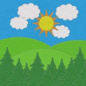Krajina s borovými lesy, v horách s steh stylu o — Stock fotografie
