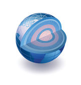 Isometric view of the globe in the section — Stock Vector
