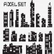 Pixel buildings — Stock Vector