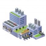 edificios isométricas — Vector de stock