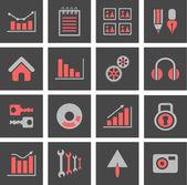 Symbole mit grafiken und diagrammen — Stockvektor