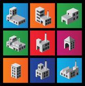 Ikoner med fabriker och anläggningar — Stockvektor