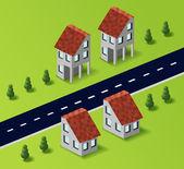 поселковые дома в векторе — Cтоковый вектор