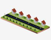 Village houses — Stock Vector