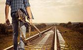 Spoorlijn naar horizon — Stockfoto