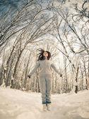 Winter sportliche Sprung — Stockfoto