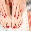 Постер, плакат: Female feet with red nails