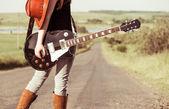 Freeway musician — Stock Photo
