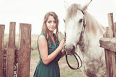 Portrait with horse — Photo