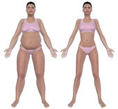 Weight Loss Before And After Front View — Stock Photo