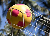 The soccer ball in the goal — Stock Photo