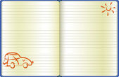 The notebook page with a drawn car — Stockvektor