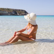 Young woman at beach of Lampedusa — Stock Photo