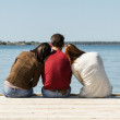 Youngs on pier — Stock Photo