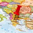 Map of Grecia with a white pushpin stuck — Stock Photo #39284159