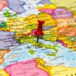 Stock Photo: Map of Italy with white pushpin stuck