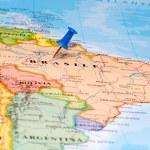 Map of Brasil with a white pushpin stuck — Stock Photo