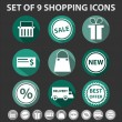 Set of 9 trendy shopping icons — Stock Vector
