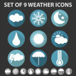 Set of 9 trendy weather icons   — Stock Vector