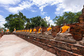 Old Buddha statue in temple at Ayutthaya province, Thailand — Stock Photo