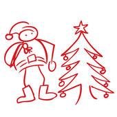 Santa z choinki bazgroły — Wektor stockowy