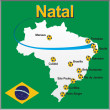 Natal - Brazil map soccer ball — Vettoriale Stock #39987387