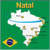 Natal - Brazil map soccer ball — Stock Vector