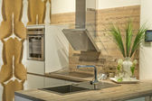 Modern fitted kitchen — Stock Photo