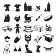 The figure shows the icons of childrens products — Stock Vector