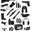 The figure shows the silhouettes of hunting equipment — Stock Vector