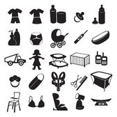 De afbeelding ziet u de pictogrammen van childrens producten — Stockvector