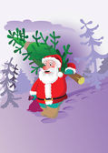 The figure depicts Santa Claus with Christmas tree — Stock Vector