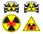 The figure shows the radioactive car — Stock Vector