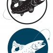 The figure shows a trout fish — Stock Vector