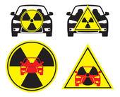 Obrázek ukazuje radioaktivní auto — Stock vektor