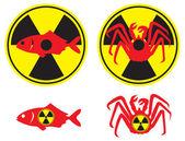 Radyoaktif balık şekil gösterir — Stok Vektör