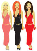 The figure shows the girls in evening dresses — Stock Vector