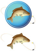 The figure shows a fish with a hook — Stock Vector