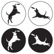 The figure shows the dog-frisbee - Stok Vektör