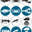 Depicted in Figure Seafood - Stock Vector