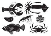 Representado en pescados y mariscos figura — Vector de stock