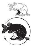 La figura mostra un pesce luccio — Vettoriale Stock