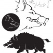 Stock Vector: Wild boar