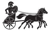 The figure shows a chariot with a gladiator — Stock Vector