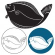 Figure shows fish halibut — Stock Vector #39412653