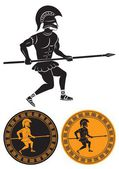 The picture shows a gladiator with a spear — Stock Vector