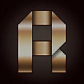 Letter metal gold ribbon - R — Stock Vector