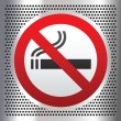 Stock Vector: No smoking symbol on chromium background